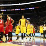 Mystics and Sparks at a pause in the game. Photo by Maria Noble/WomensHoopsWorld.