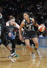 Brittany Boyd drives past Lynx guard Lindsay Whalen. Boyd was lost for the season last week when she tore her Achilles tendon in a game against Minnesota. Photo courtesy of the New York Liberty.