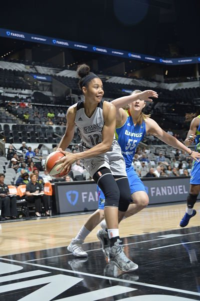 Nia Coffey looks to pass during San Antonio's first preseason game against Dallas. Photo courtesy of San Antonio Stars/NBAE/Getty Images.