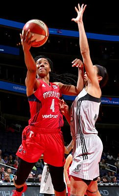Tayler Hill scores two of her 15 on the day for the Mystics against San Antonio. Photo courtesy of WNBA/NBAE/Getty Images.