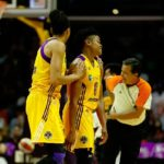 Candace Parker talks to Alana Beard after she was called for a foul. Photo by Maria Noble/WomensHoopsWorld.