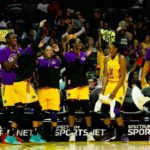 The Sparks bench celebrates a scoring run by the team's reserves. Photo by Maria Noble/WomensHoopsWorld.