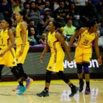Alana Beard and the rest of the Sparks walk off the floor for a timeout. Photo by Maria Noble/WomensHoopsWorld.