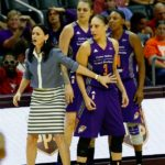 Mercury coach Sandy Brondello motions for Diana Taurasi to stay where she is after being assessed for a technical foul. Photo by Maria Noble/WomensHoopsWorld.