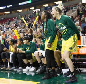 The Seattle bench cheers on teammates late in the match up with Atlanta last week. Photo by Neil Enns/Storm Photos.