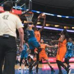 Jonquel Jones powers up a basket past Maya Moore. Photo by Brian Few Jr./T.G.Sportstv1.
