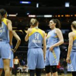 Sky players confer at a timeout. Photo by Maria Noble/WomensHoopsWorld.