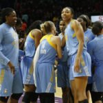 The Chicago Sky huddle after beating the Los Angeles Sparks. Photo by Maria Noble/WomensHoopsWorld.