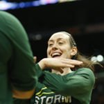 Breanna Stewart with teammates during shootaround. Photo by Maria Noble/WomensHoopsWorld.