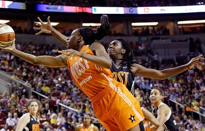 Western Conference's Los Angeles Sparks' Nneka Ogwumike, left, drives past Eastern Conference's Atlanta Dream's Elizabeth Williams in the second half of the WNBA All-Star basketball game Saturday, July 22, 2017, in Seattle. AP Photo/Elaine Thompson.