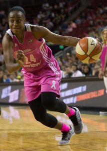 Jewell Loyd drives along the baseline. Photo by Neil Enns/Storm Photos.