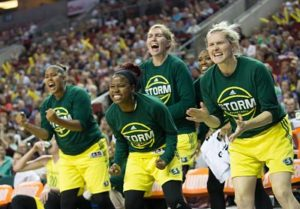 The Storm bench is excited after a shot in the first half of play.  Photo by Neil Enns/Storm Photos.