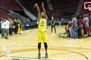 Jewell Loyd puts up free throw shots after the game is over.  Photo by Neil Enns/Storm Photos.