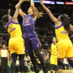 Brittney Griner scores two of her 18 points on the night. Photo by Benita West/TGSportsTV1.