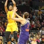 Alana Beard launches a shot over Diana Taurasi. Photo by Benita West/TGSportsTV1.