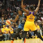 Sylvia Fowles tries to drive around Jantel Lavender. Photo by Benita West/TGSportsTV1.