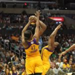 The Sparks defense makes a pass difficult for Sylvia Fowles. Photo by Benita West/TGSportsTV1.