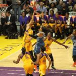 Candace Parker blocks Maya Moore's shot. Photo by Benita West/TGSportsTV1.