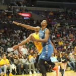 Sylvia Fowles tries to beat Nneka Ogwumike. Photo by Benita West/TGSportsTV1.