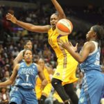 Chelsea Gray loses ball possession. Photo by Benita West/TGSportsTV1.