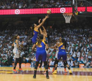 Candace Parker elevates over the defense to score. Photo by Brian Few Jr./TGSportsTV1.