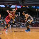 Elena Delle Donne initiates the drive past Maya Moore. Photo by Brian Few Jr./TGSportsTV1.