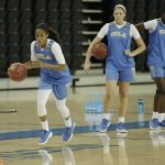 Jordin Canada leads a drill. Photo by Maria Noble/WomensHoopsWorld.