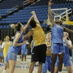 Practices are intense and physical. Photo by Maria Noble/WomensHoopsWorld.