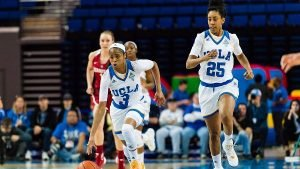 Jordin Canada and Monique Billings run another fast break. Photo courtesy of UCLA Athletics.