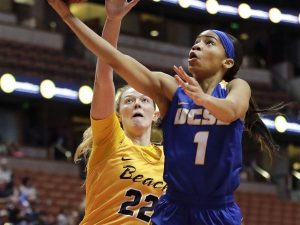 UCSB guard Drea Toler goes for the layup under pressure against CSLB forward Madison Montgomery during the Big West Championship game last March. Photo by Jae C. Hong/Associated Press.