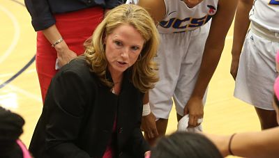 Bonnie Henrickson conducts a timeout. Photo courtesy of Cal State Santa Barbara Athletics.
