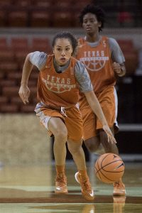 Brooke McCarty runs the fast break. Photo courtesy of Texas Athletics.