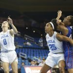 Monique Billings boxes out for UCLA. Photo by Maria Noble/WomensHoopsWorld.