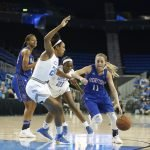 Kacie Hall tries to drive past the Bruin defense. Photo by Maria Noble/WomensHoopsWorld.
