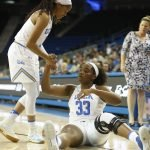 Jordin Canada helps Lauryn Miller to her feet. Photo by Maria Noble/WomensHoopsWorld.
