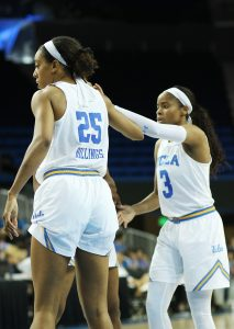 Monique Billings and Jordin Canada high-five. Photo by Maria Noble/WomensHoopsWorld.