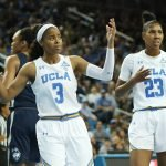 Jordin Canada and Kelli Hayes react to a foul call. Photo by Maria Noble/WomensHoopsWorld.
