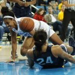 Monique Billings and Napheesa Collier battle for ball possession. Photo by Maria Noble/WomensHoopsWorld.