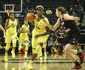 Ruthy Hebard leads the fast break. Photo courtesy of Oregon Athletics.