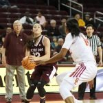 Danni Williams prepares to shoot. Photo by Maria Noble/WomensHoopsWorld.