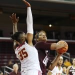 Khaalia Hillsman shoots. Photo by Maria Noble/WomensHoopsWorld.