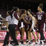 The Aggies celebrate Chennedy Carter's game-winning shot. Photo by Maria Noble/WomensHoopsWorld.