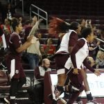 Texas A&M players react as the final buzzer sounds. Photo by Maria Noble/WomensHoopsWorld.