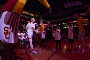 Jordan Adams is introduced at a recent home game. Photo courtesy of USC Athletics.