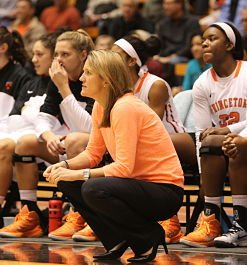 Courtney Banghart, now in her eleventh season as Princeton head coach, amassed a 208-87 record going into the year. Photo by Beverly Schaefer.