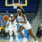 Michaela Onyenwere drives the ball up court. Photo by Maria Noble/WomensHoopsWorld.