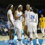 UCLA huddles briefly on court. Photo by Maria Noble/WomensHoopsWorld.