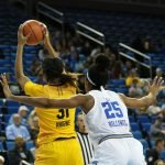 Monique Billings defends Kristine Anigwe. Photo by Maria Noble/WomensHoopsWorld.