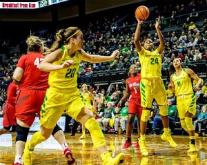 Sabrina Ionescu, left, prepares to follow Ruthy Hebard's shot against Ole Miss earlier this season. Photo by 16KMTR.