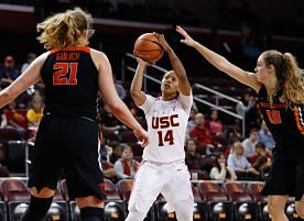 Sadie Edwards unleashes a shot. Photo by Hali Helfgott/USC Athletics.